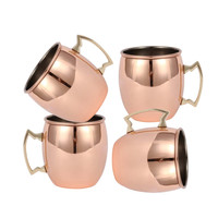 Roral Russian Style 1/2/4/6/8/10 pcs Retro Copper Colored Moscow Mule Mug 550ml Vodka Beer Coffee Cup Tumbler Liquor Copper Mug