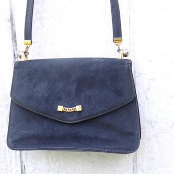 Blue Suede Koret Purse 1960s Bag Mid-Century