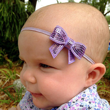 Sparkle Bow Hedband - PICK YOUR COLOR, Sequin Mini Bow Headband, Simple and Adorable Baby Headband, Newborn Photo Prop, Made for any age