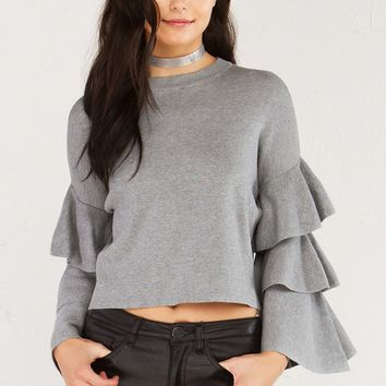 AKIRA Cropped Sweater with Long Tiered Bell Sleeves in Grey