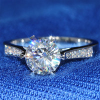 Queen Brilliance 1 Ct F Color Engagement Wedding Moissanite Diamond Ring With Real Diamond Accents Genuine14K 585 White Gold
