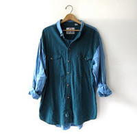 Vintage linen & cotton jean shirt. Color block denim shirt. oversized button down shirt.