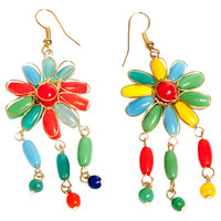 Blooming Flower Rainbow Fashion Handmade Earrings