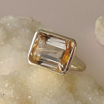 Sale Gold Quartz Ring- Rutile Ring- Rectangle Rings- Quartz Rings- Stone Rings- Statement Ring- Gemstone Ring- Silver Quartz Ring- Ring