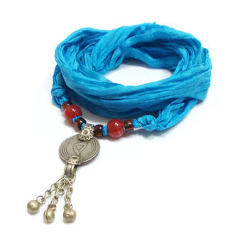 Turquoise Silk Ribbon Bracelet Necklace with Upcycled Kuchi Button, Belly Dance Tribal Fusion Bohemian Silk Wrap Charm Bracelet Necklace