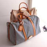 2015 high quality Korean women canvas and striped fashionable travel duffles bags for trip