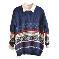 Crew Neck Loose Sweater with Snowflake Print Details