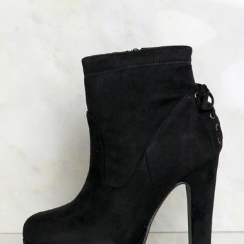 Lace Back Platform Booties Black