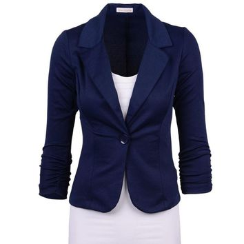 Spring Fashion Women Street Blazer Jackets Coat Slim Fit Casaco Blazer Casual Coats Single Button Candy Color OL Blazers YF162