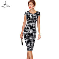 QISHI 2016 Women Dress Print Vestidos Business O-Neck Spring Knee-Length Dress  Summer Style Casual Womens Tops Clothing Size L