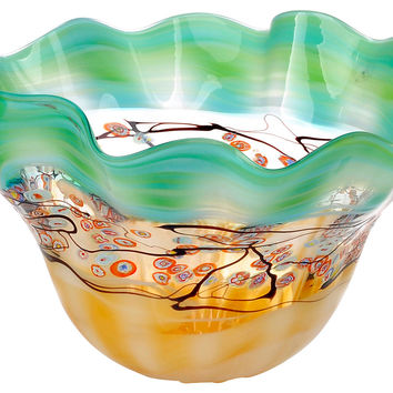 "17"" Spring Blossom Art Glass Bowl, Decorative Bowls & Centerpieces"