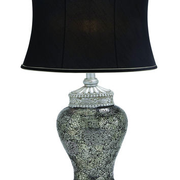 Mosaic Polished Stone Table Lamp in Black
