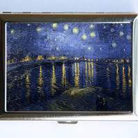 Starry Night over Rhone Cigarette Case Wallet Business Card Holder fine art painting