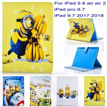 Tablet case cover for apple ipad 5 6 air air2 ipad pro 9.7 ipad 9.7 2017 2018 case Minions Cartoon stand PU Leather Cover Gift