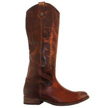 Frye Boot Melissa Button - Dark Brown Leather Tall Riding Boot