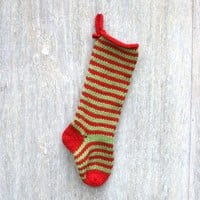 Chunky Red & Green Striped Knitted Christmas Stocking