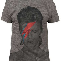 DAVID BOWIE ALADDIN SANE BIG PRINT SUBWAY TEE. Featuring tri-blended super soft tee, crew neckline, short sleeve.