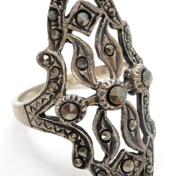 Long Sterling Silver Ring with Marcasites Vintage