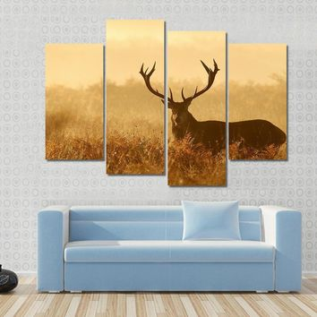 Red Deer Stag Silhouette Close-Up View Canvas