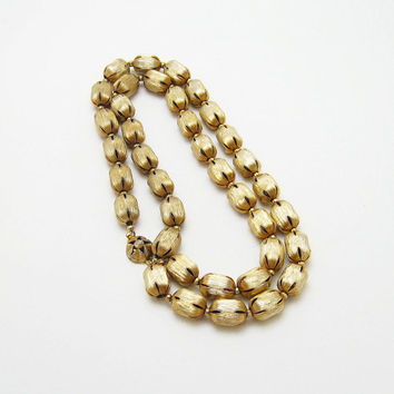 Long Metal Bead Necklace on Chain Mid Century Costume Jewelry N6583