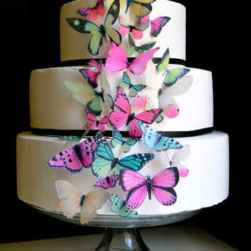 The Original EDIBLE BUTTERFLIES - Assorted Pink and Green set of 30 - Cake & Cupcake toppers - Food Accessories