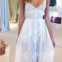 White Semi Sheer Lace Scalloped V Neck Fitted Waist Flowy Maxi Dress