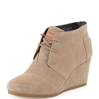 Suede Lace-Up Wedge Boot, Taupe - TOMS - Taupe