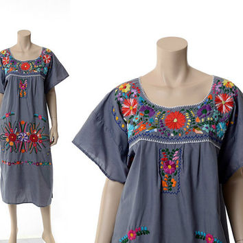 Vintage 70s Gray Embroidered Mexican Hippie Dress 1970s Rainbow Flowers Floral Coachella Festival Oaxacan Boho Gypsy Caftan Dress / L-XL