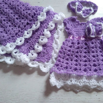 Purple Newborn Girl Coming Home Outfit, Crochet baby Girl Clothes, Baby Headband ,newborn girl outfit, Crochet Photo prop, take home Outfit