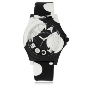 Marc by Marc Jacobs Designer Women's Watches Sloane 40 MM Black and White Silicone Strap and Stainless Steel Women's Watch