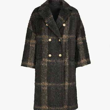 BRUNELLO CUCINELLI Metallic-thread checked alpaca-blend coat