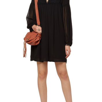 Macramé lace-paneled silk-chiffon dress | See by Chloé | US | THE OUTNET