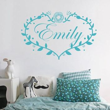 ik1732 Wall Decal Sticker the name of the heart flowers Girl children's bedroom
