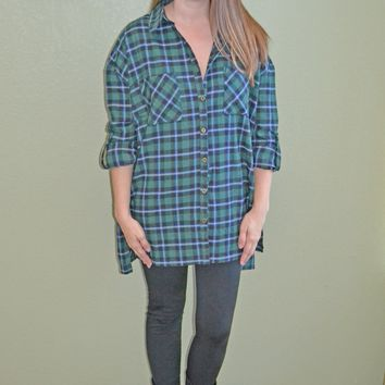 Check It Twice Plaid Oversized Top
