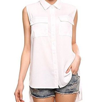 SE MIU Women Chiffon Sleeveless Blouse Button Down High Low Shirt Pocket Tank Work Tops Large White