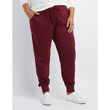Plus Size French Terry Knit Jogger Pants | Charlotte Russe