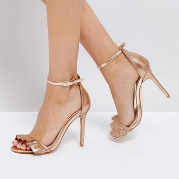 River Island Frill Front Barely There Sandals at asos.com