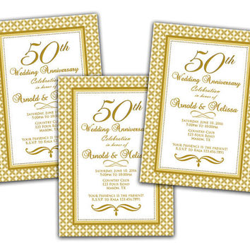 50th Wedding Anniversary Invitation - Anniversary Party Invitations -  Vow Renewal - Art Deco - Gold Golden Ornate - Elegant Printed