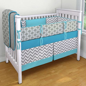 Blue Gray and White Chevron and Geometric Crib Bedding Set