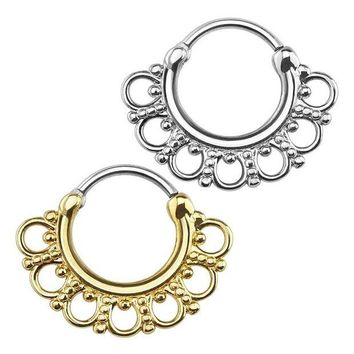 ac DCCKO2Q 2x Tribal Circles Fan Round Septum Nose Rings Clicker Hanger Stud Piercing Jewelry Gold Steel
