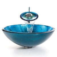 Round Blue Tempered Glass Vessel Bathroom Sink