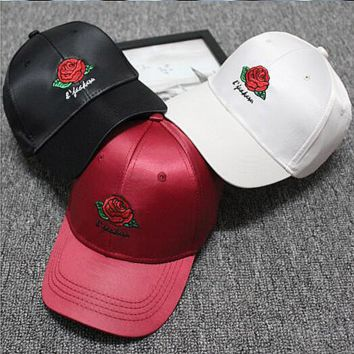 Hundreds Rose Embroidery Strap Cap Adjustable Golf Snapback Baseball Hat Cap White