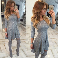 Fashion Gray A-Line Pleated Long Sleeve Short Dress