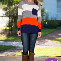 Color Block Pocket Sweater, Navy