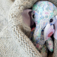 Elephant blue lilac. Cloth art toy. Little stuff toy. Pretty doll. Stuffed animal. Valentine heart gift.