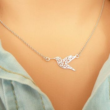 Yiustar Origami Hummingbird Necklace Hollow Animal Necklaces Gift For Best Friends Pendant Collares Mujer Fine Trendy Jewelry