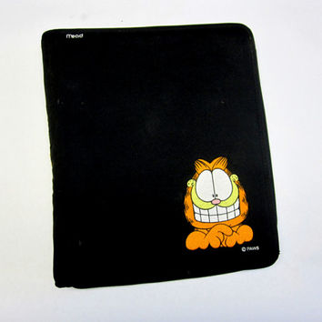 Vintage Mead 3-ring Binder Garfield Trapper Keeper Fabric Zipper Paws Black Cat