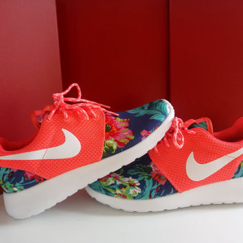 custom nike roshe run sneakers womens coral athletic shoes with fabric floral and blinged with swarovski crystals