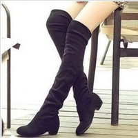 Women Boots 2016 Autumn Winter Ladies Fashion Flat Bottom Boots Shoes Over The Knee Thigh High Suede Long Boots Brand