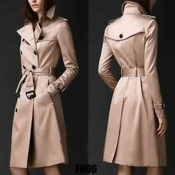 2016 spring khaki red England Double-breasted trench coat for women windbreaker female trenchcoat casacos female free shipping